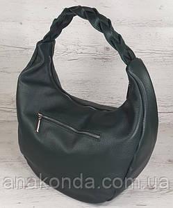 614-1 Натуральная кожа Объемная сумка женская зеленая Кожаная сумка-мешок Зеленая кожаная сумка на плечо хобо