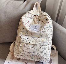 Женский рюкзак ПАУТИНКА жіночий рюкзак экокожа школьный рюкзак с верёвочками Белый