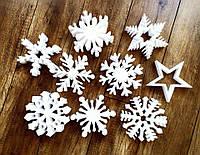 Снежинки из Пенопласта Декорации на Новый Год 20-100 см Объемные Большие Декоративные Новогодние Украшения