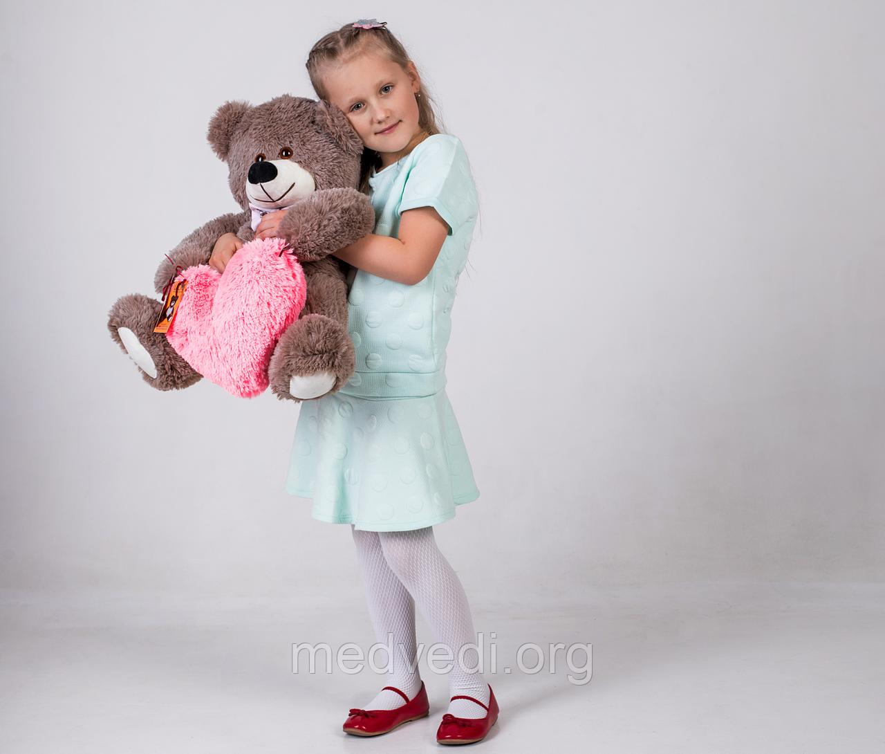Плюшевый мишка с сердечком Yarokuz Джеймс 65 см Капучино