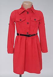 Детское платье рубашка красного цвета микровельвет ( 116-134)