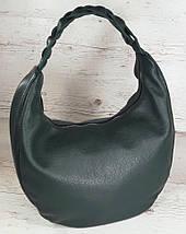 614-1 Натуральная кожа Объемная сумка женская кожаная зеленая Сумка-хобо зеленая Кожаная сумка женская зеленая, фото 3