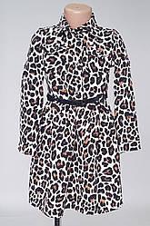 Детское платье рубашка леопардовой расцветки (116 -134)