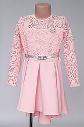 Детское асимметричное платье с кружевом (122 -140)