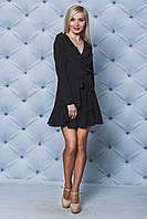 Короткое платье с рюшей черное
