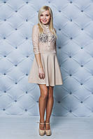 Платье короткое с кружевом беж