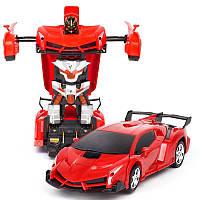 Машинка Трансформер Lamborghini Car Robot Size 18 ЧЕРВОНА З ПУЛЬТОМ, фото 1