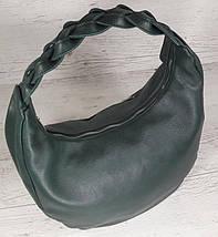 614-1 Натуральная кожа Объемная сумка женская кожаная зеленая Сумка-хобо зеленая Кожаная сумка женская зеленая, фото 2