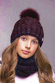 Теплая шапка с бубоном Flirt Бэкки One Size бордовая