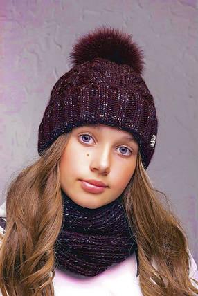 Теплая шапка с бубоном Flirt Бэкки One Size бордовая, фото 2
