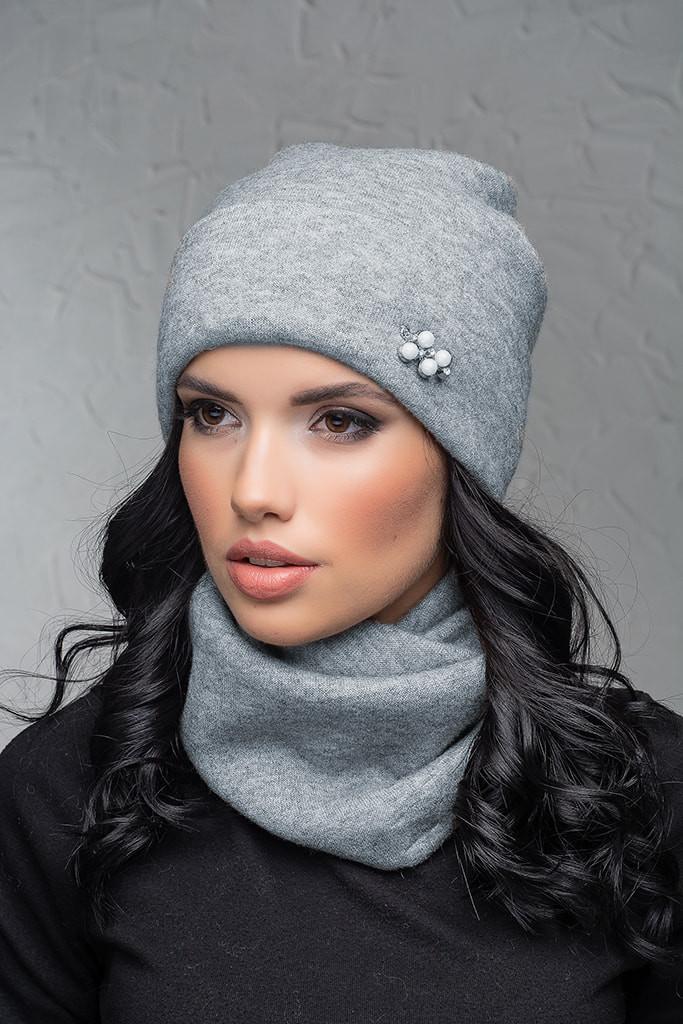Комплект трикотаж (шапка и шарф-снуд) Flirt Венгрия One Size серый