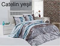 """Семейный комплект постельного белья Сатин """"Altinbasak"""" Catelin yesil. Турция"""