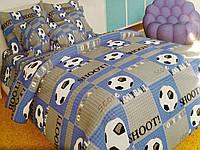 Постельное белье полуторка для мальчика с футбольными мячами Бязь Gold