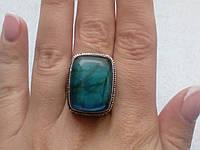Лабрадор кольцо с натуральным лабрадоритом в серебре 19.5-20 размер Индия