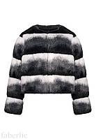 157G1422 Полушубок из экомеха для девочки, цвет черно-белый, размер 134