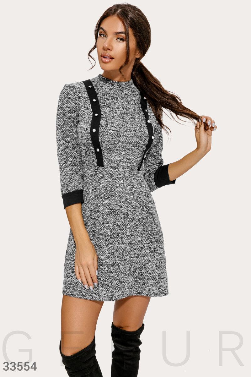 Короткое весеннее платье меланж