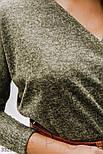 Трикотажное платье миди с поясом оливковое черное, фото 2