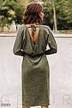 Трикотажное платье миди с поясом оливковое черное, фото 4