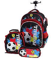 """Набор: детский тканевый чемодан-рюкзак на колесах+сумка+пенал """"Football"""" 520495"""