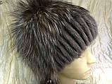 Хутряна шапка з норки і чорнобурки голд на плетеній основі колір коричневий, фото 3