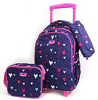 """Набор: детский тканевый чемодан-рюкзак на колесах+сумка+пенал """"Love"""" 520496"""