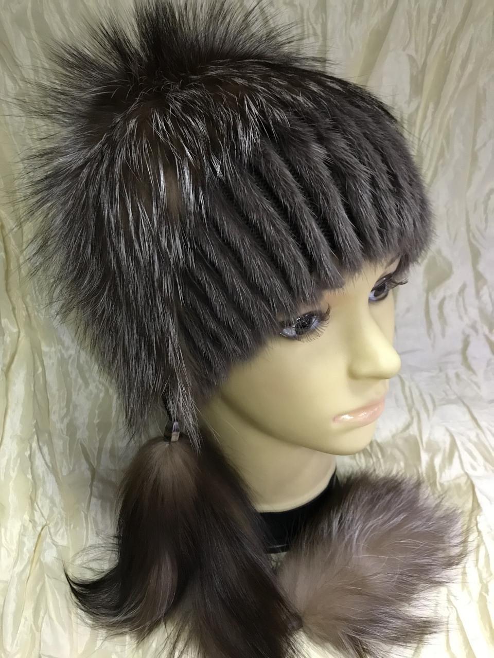 Хутряна шапка з норки і чорнобурки голд на плетеній основі колір коричневий