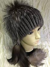 Меховая шапка из норки и чернобурки голд на вязанной  основе цвет коричневый