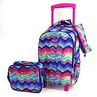 """Набор: детский тканевый чемодан-рюкзак на колесах+сумка+пенал """"Пиксели"""" 520497"""