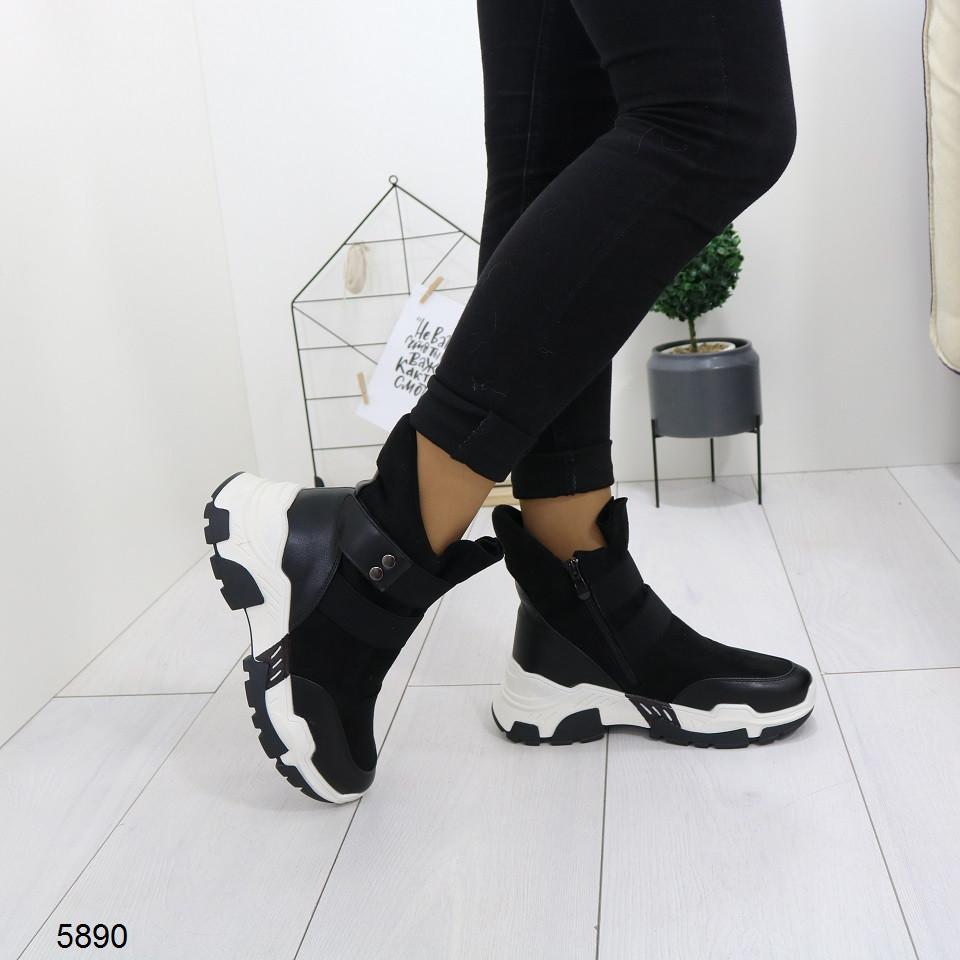 Женские зимние ботинки на удобной танкетке, А 5890