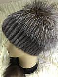 Хутряна шапка з норки і чорнобурки голд на плетеній основі колір коричневий, фото 2