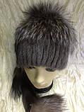 Хутряна шапка з норки і чорнобурки голд на плетеній основі колір коричневий, фото 4