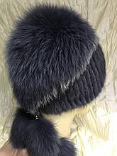 Меховая шапка из норки и песца на вязанной  основе цвет платина