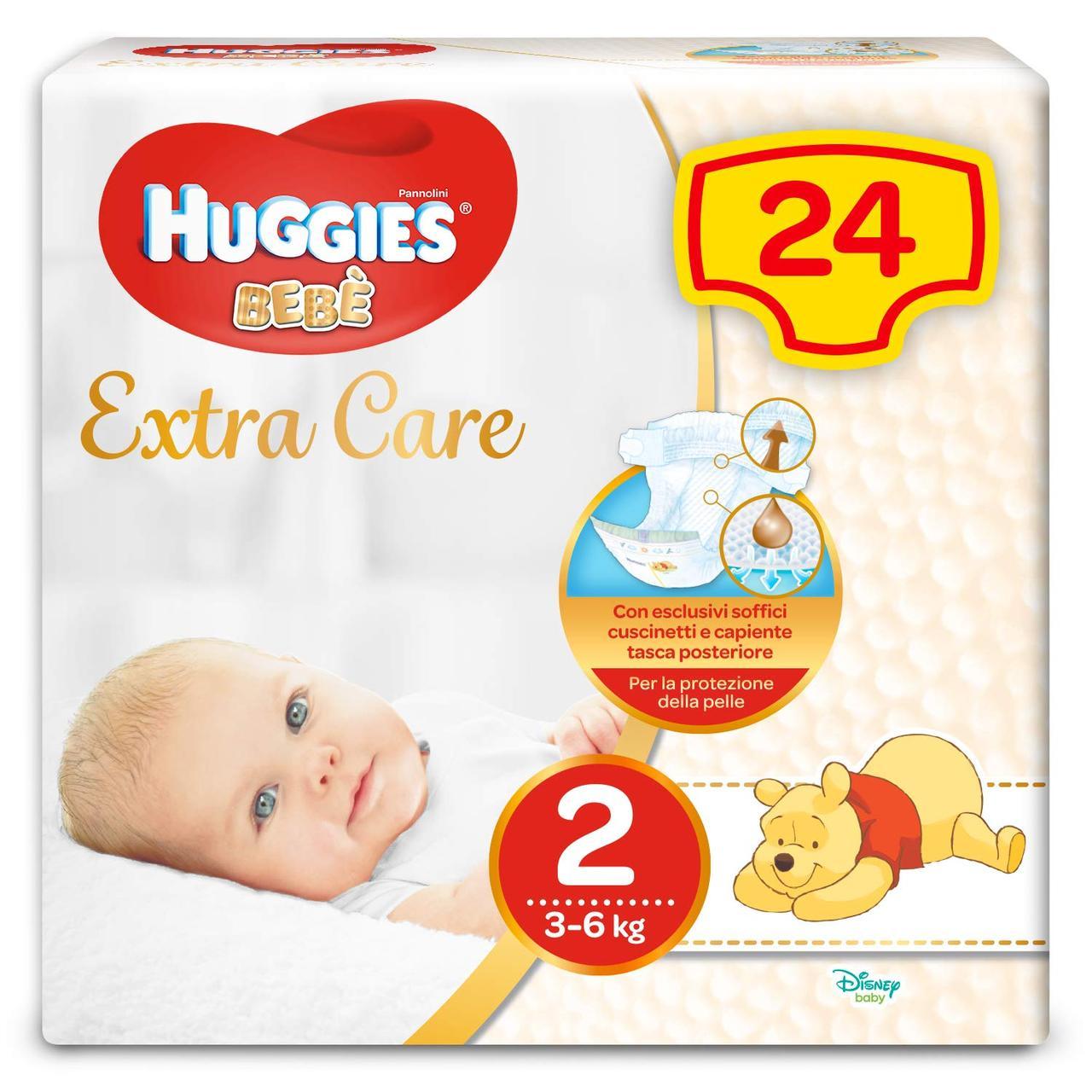 Подгузники Huggies Extra Care 2, 3-6 кг (24шт.)