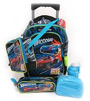 Набор детский чемодан - рюкзак + сумка + пенал + ланчбокс + бутылка, Машина 520237