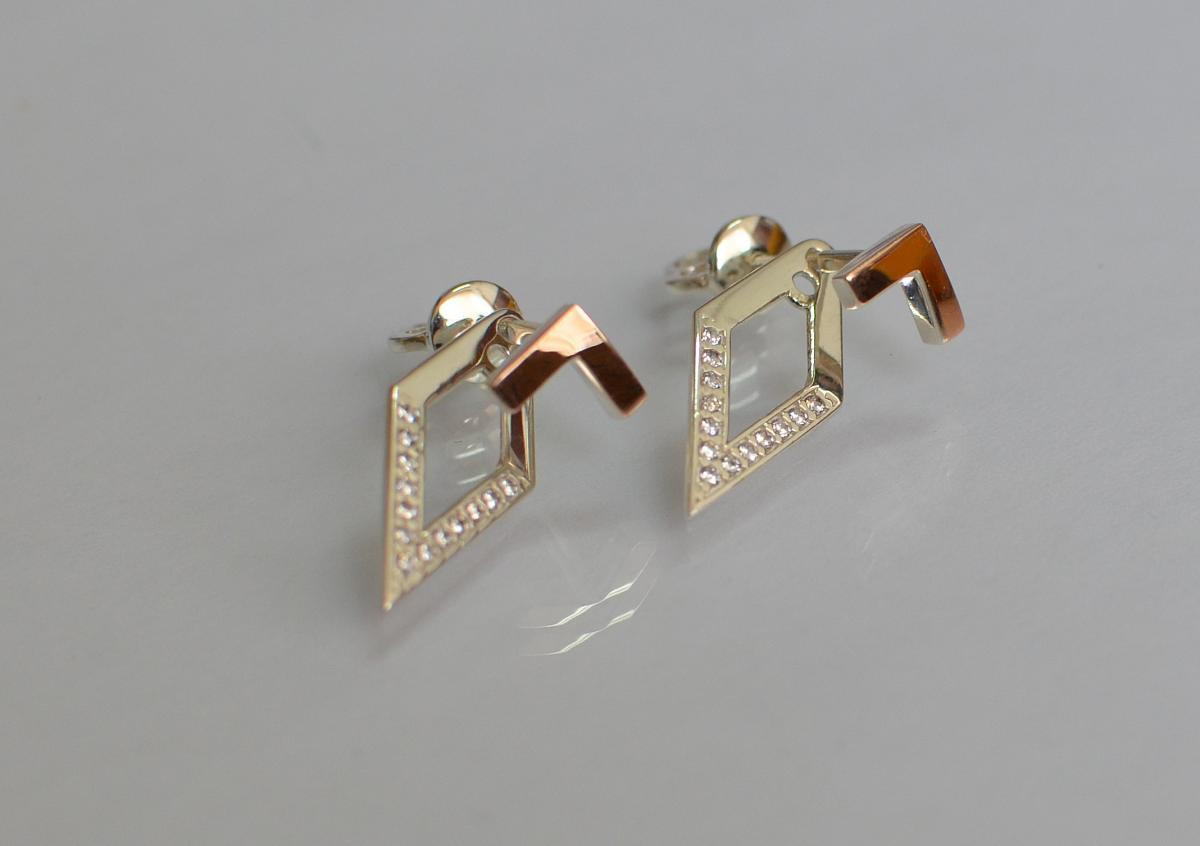 Серьги-гвоздики серебряные с золотыми пластинами