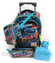 Набор детский чемодан - рюкзак + сумка + пенал + ланчбокс + бутылка, Машина