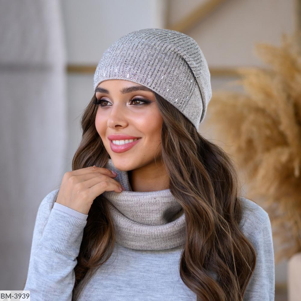 Комплект набор шапка + шарф баф зимний вязка много цветов Новинка