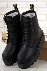 Женские зимние ботинки Dr. Martens Jadon Black (Доктор Мартинс Жадон черные) с мехом