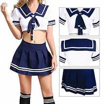 Сексуальный костюм студентки Mishel эротическая форма школьницы синяя, фото 2