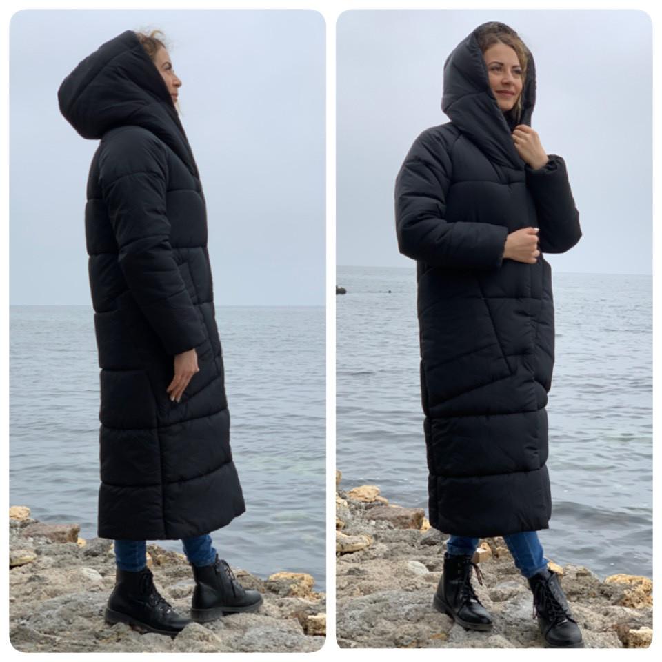 Пальто курка  кокон Oversize зимняя, артикул 500, цвет матовый черный