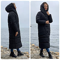 Пальто курка  кокон Oversize зимняя, артикул 500, цвет матовый черный, фото 1