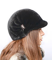 Норковая шапка женская жокейка солнышко, фото 1