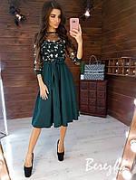 Платье с пышной юбкой миди и кружевным верхом 6603289Q, фото 1