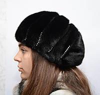 Берет норковый женский со стразами, фото 1