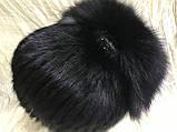 Хутряна шапка з норки ондатри песця і чорнобурки на плетеній основі колір чорний, фото 3