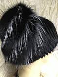 Хутряна шапка з норки ондатри песця і чорнобурки на плетеній основі колір чорний, фото 4