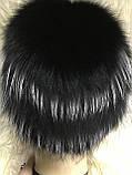Хутряна шапка з норки ондатри песця і чорнобурки на плетеній основі колір чорний, фото 2