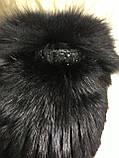 Хутряна шапка з норки ондатри песця і чорнобурки на плетеній основі колір чорний, фото 6
