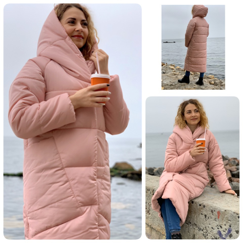 Пальто курка  кокон Oversize зимняя, артикул 500, цвет пудра