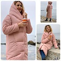 Пальто курка  кокон Oversize зимняя, артикул 500, цвет пудра, фото 1